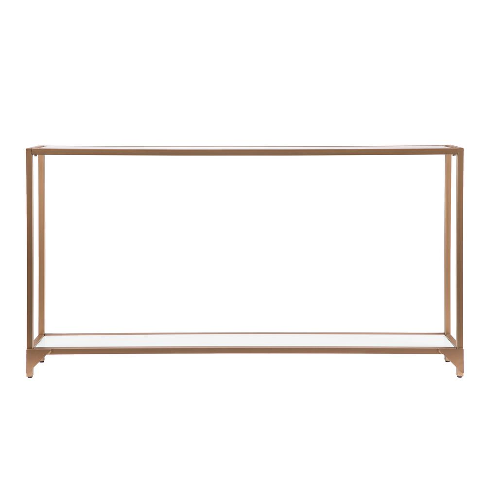 Southern Enterprises Shannon Gold with White Glass Narrow Metal Console