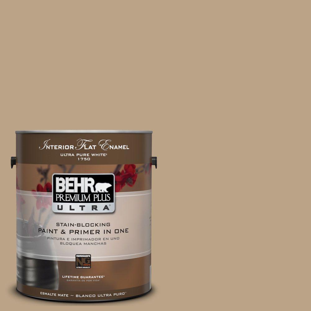 BEHR Premium Plus Ultra 1-Gal. No.UL170-4 Gobi Tan Interior Flat Enamel Paint