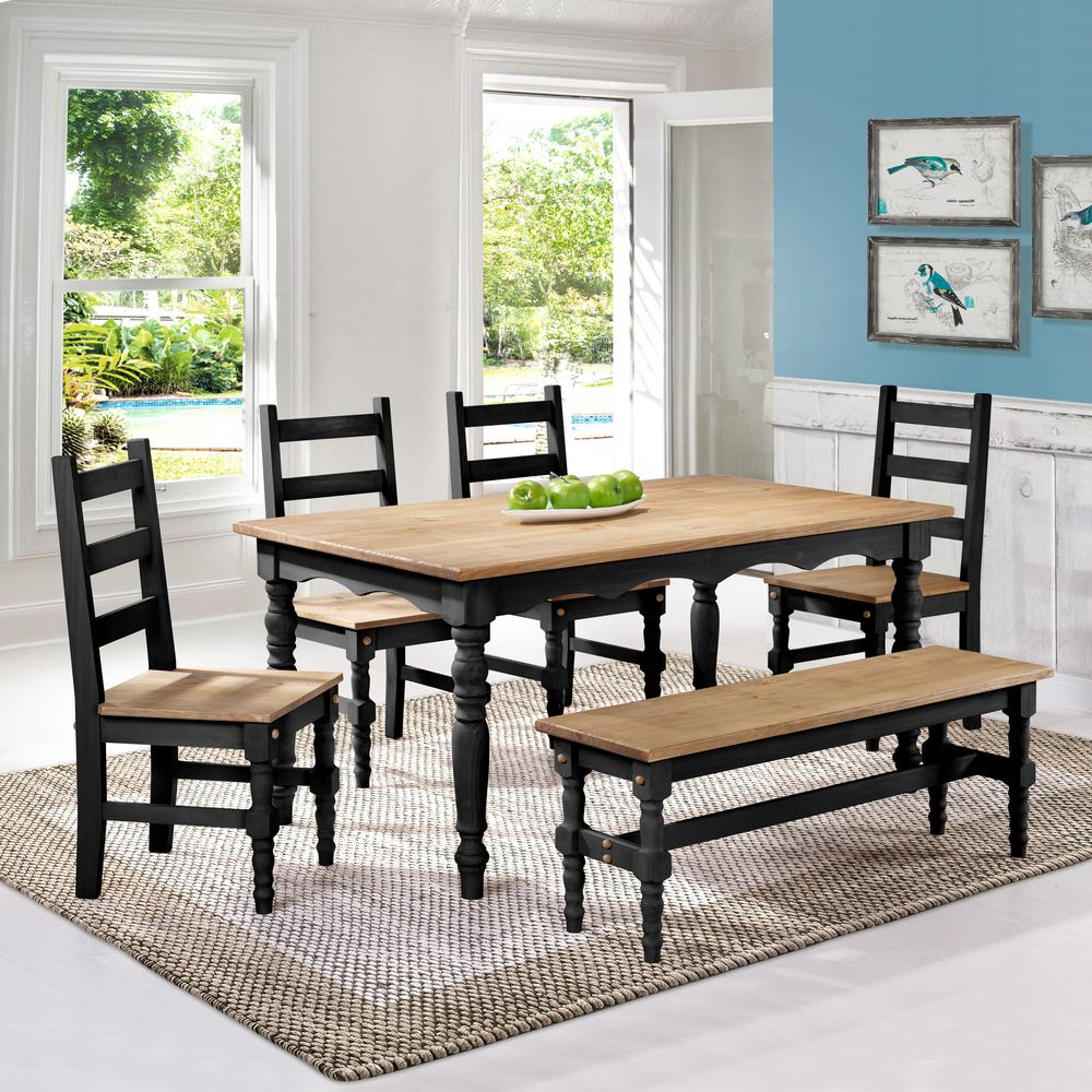 Manhattan Comfort Jay 6-Piece Black Wash Solid Wood Dining