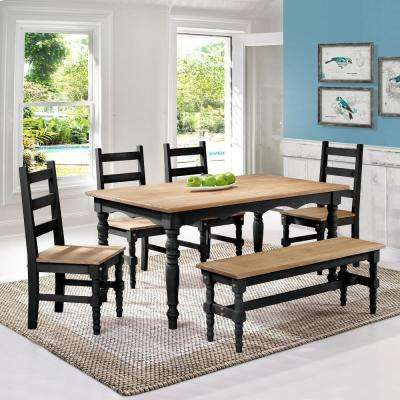 Jay 6-Piece Black Wash Solid Wood Dining Set with 1-Bench, 4-Chairs and 1-Table