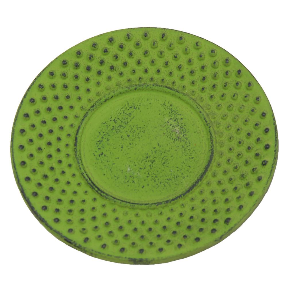 Cast Iron 3.8 in. Dia. Round Green Trivet Coaster Tea Cup Holder