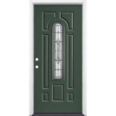 36 in. x 80 in. Providence Center Arch Conifer Right-Hand Inswing Painted Steel Prehung Front Exterior Door w/ Brickmold