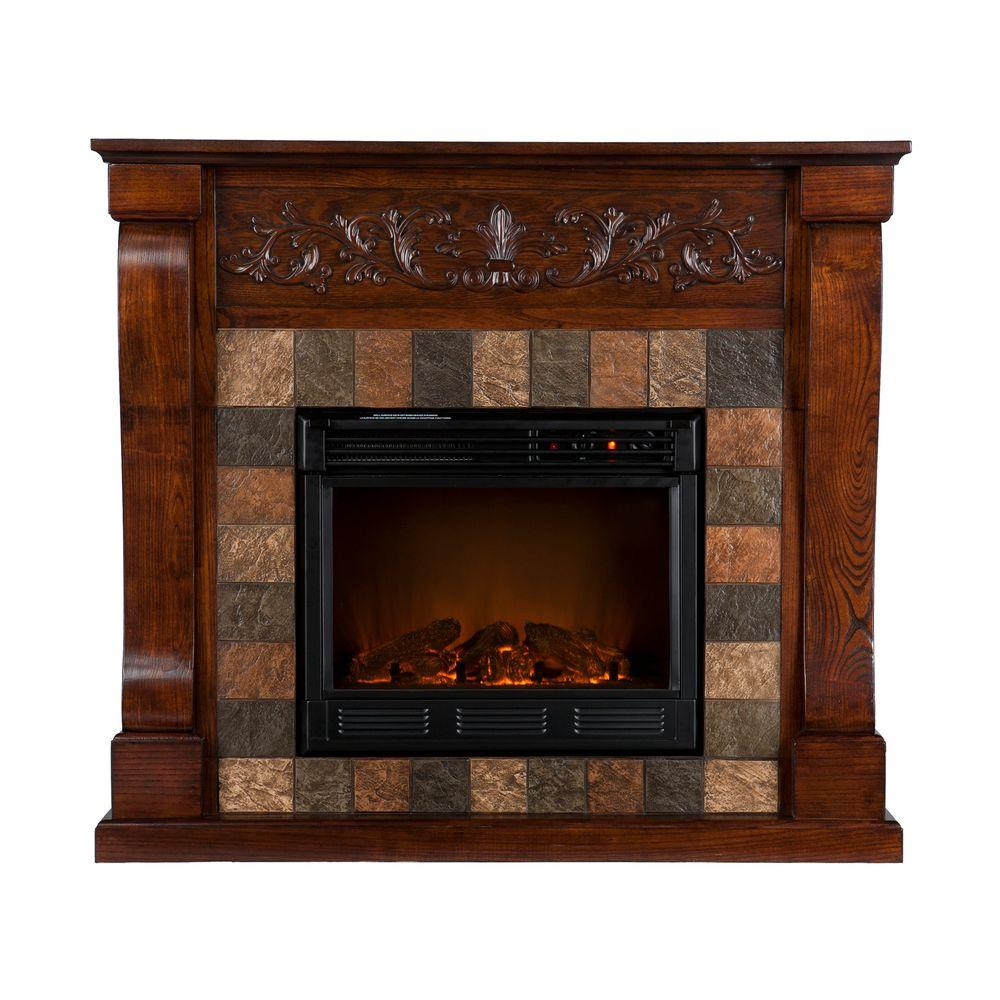 Southern Enterprises St. Lawrence 45 in. Electric Fireplace in Espresso with Faux Slate-DISCONTINUED