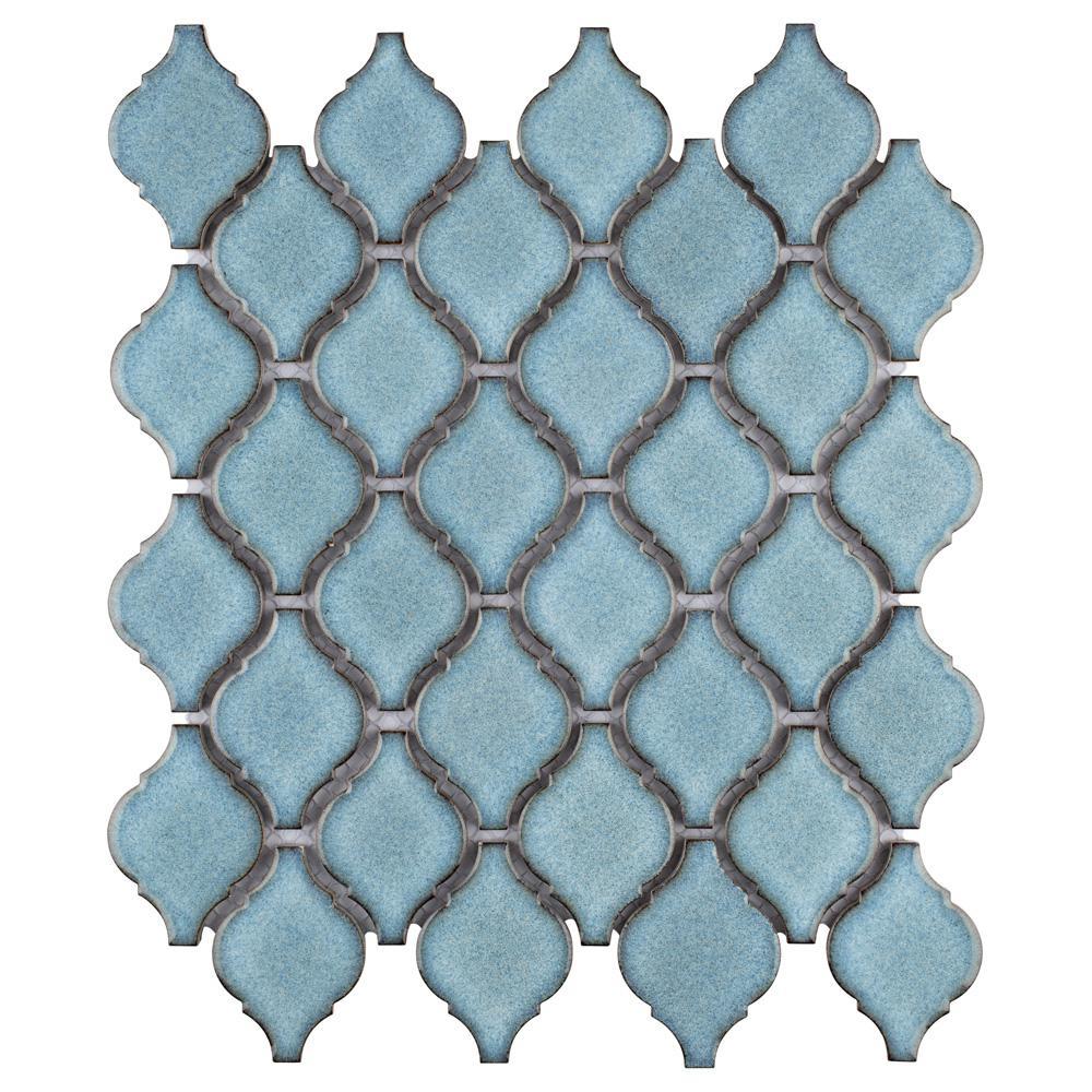 Merola Tile Arabesque Orion 9-7/8 in. x 11-1/8 in. x 6 mm Porcelain Mosaic Tile