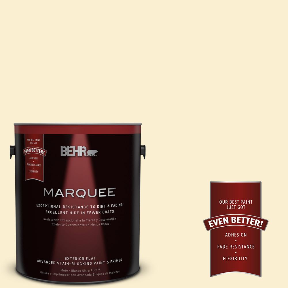 BEHR MARQUEE 1-gal. #370C-2 Custard Cream Flat Exterior Paint