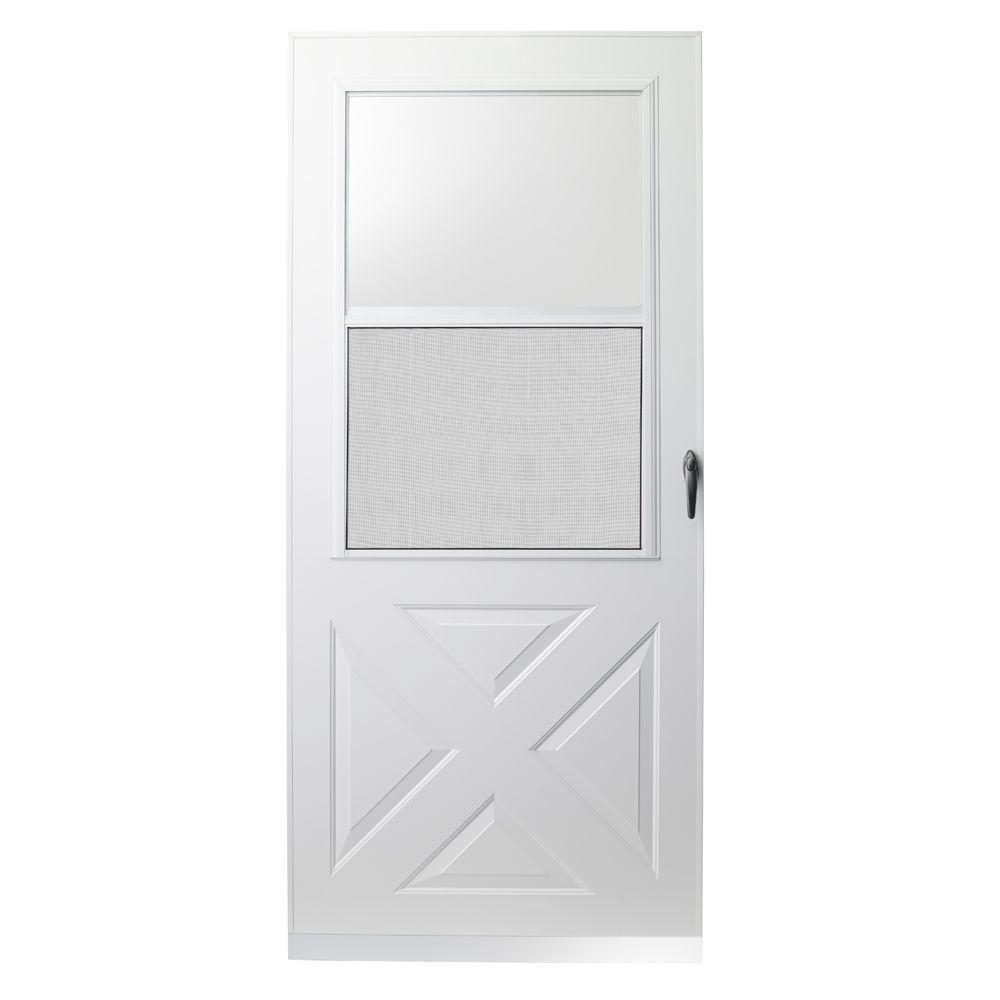 32 in. x 80 in. 200 Series White Universal Crossbuck Aluminum Storm Door