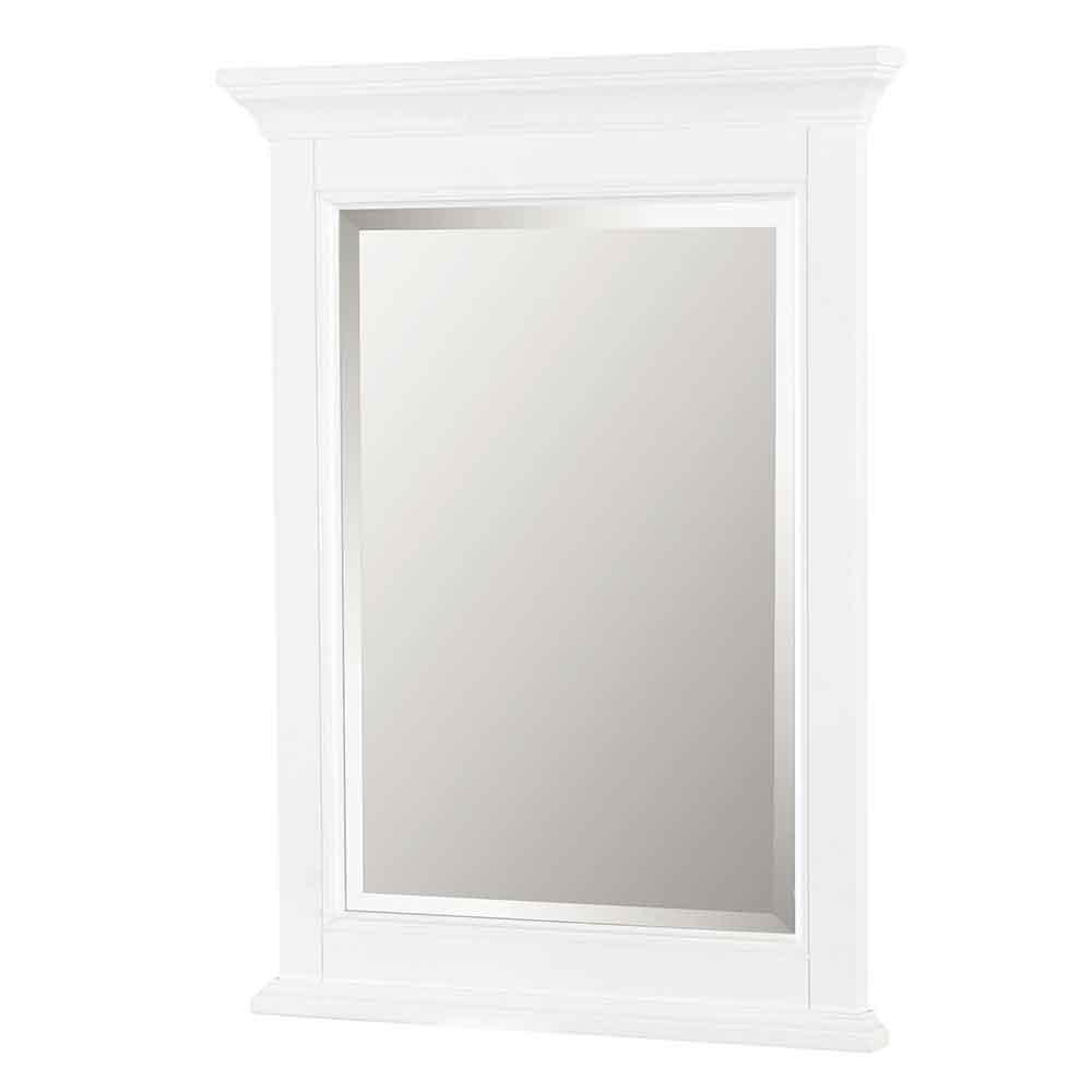 Brantley 24 in. W x 32 in. H Single Framed Beveled Edge Bathroom Vanity Mirror in White