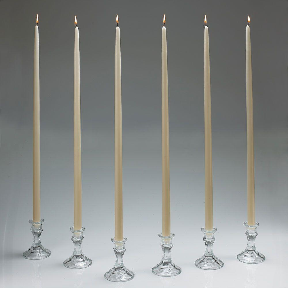 Light In The Dark 24 in. Tall Ivory Taper Candles (Set of 12) with New Ez Safe Storage Box