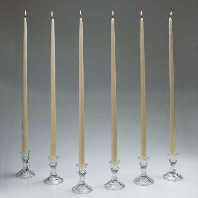 24 in. Tall Ivory Taper Candles (Set of 12) with New Ez Safe Storage Box