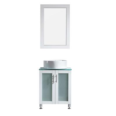 Tuscany 24 in. Vanity in White with Glass Countertop with White Vessel Sink With Mirror