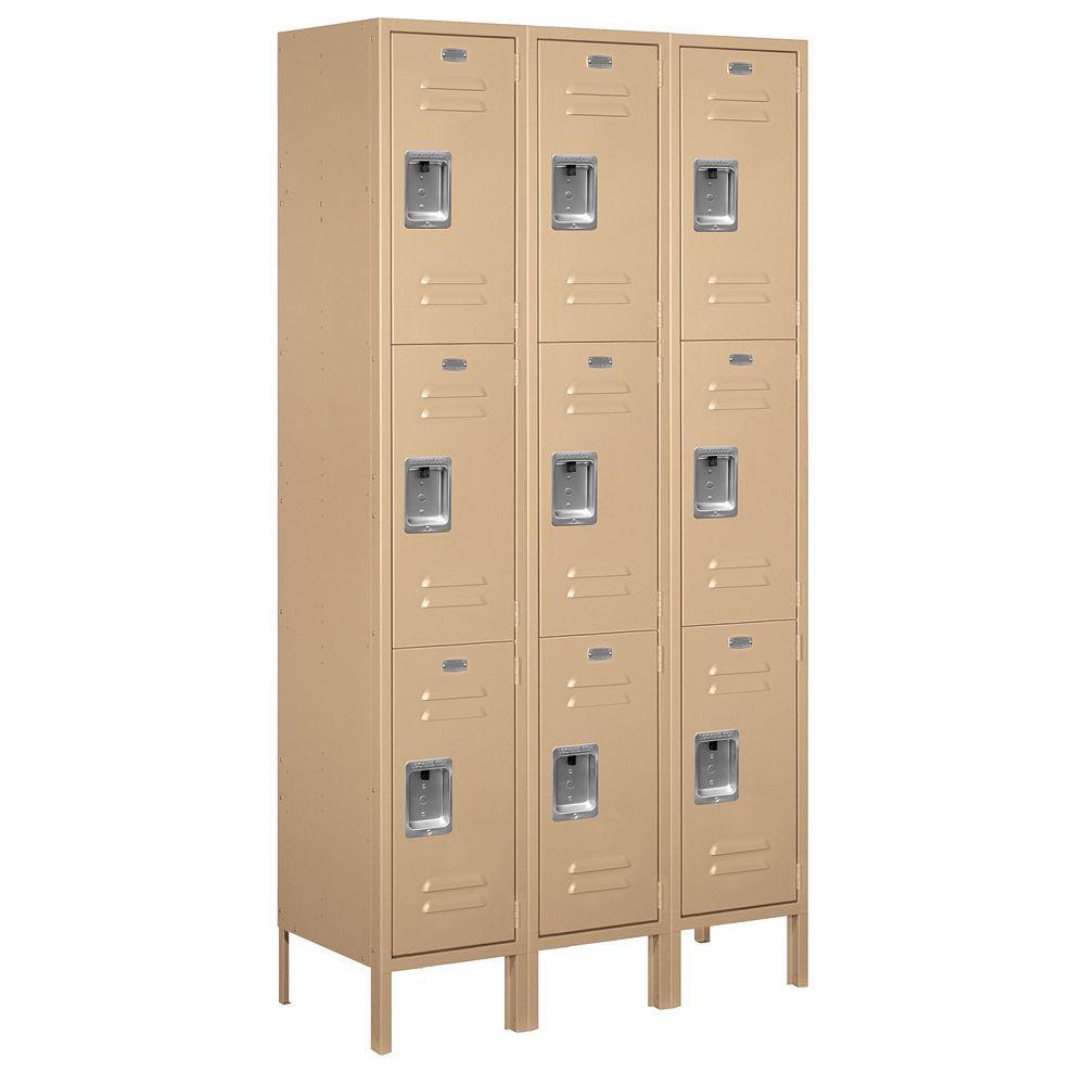 Salsbury Industries 53000 Series 45 in. W x 78 in. H x 15 in. D Triple Tier Extra Wide Metal Locker Assembled in Tan
