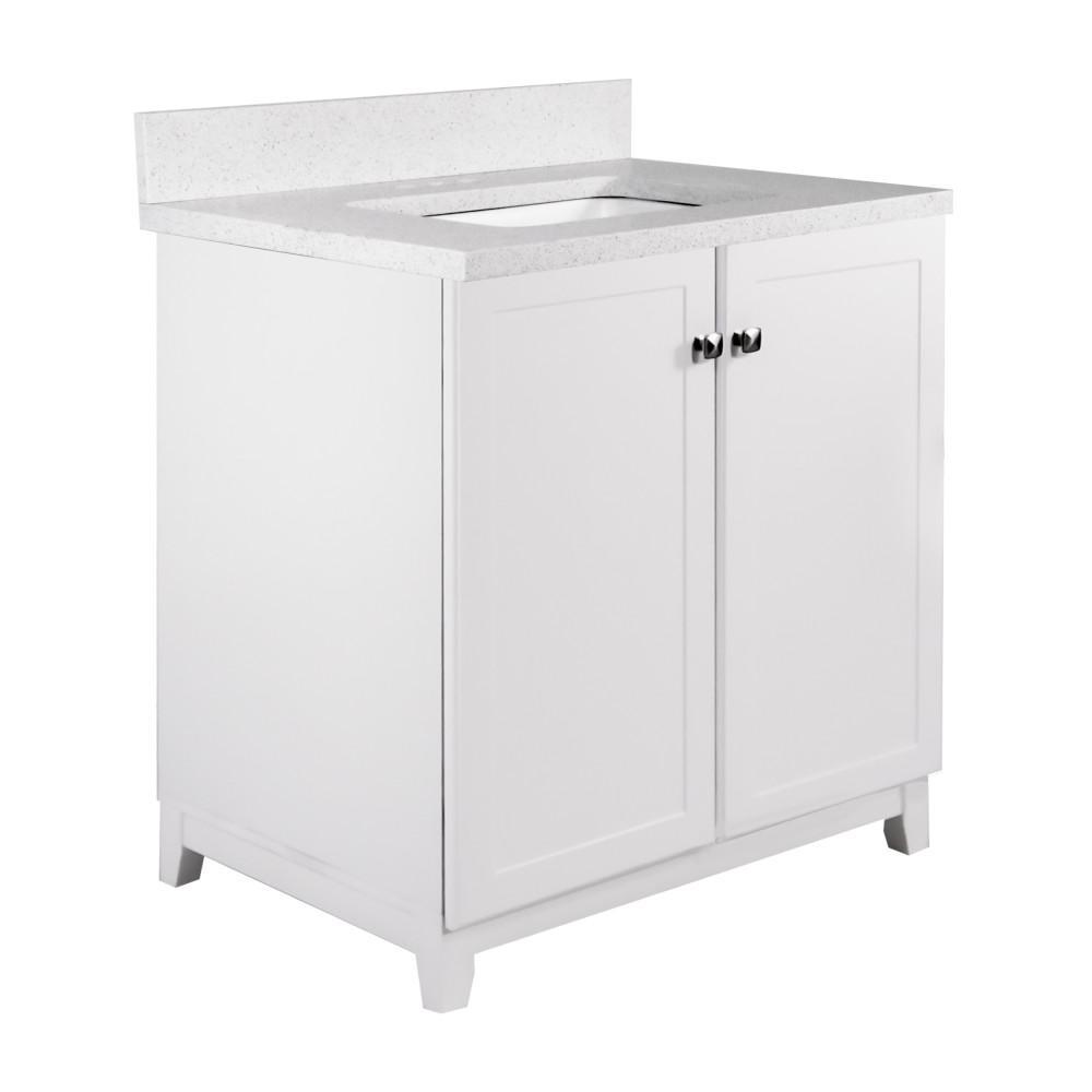 30 in. x 21 in. x 33 in. 2-Door Bath Vanity in White with 4 in. Centerset Snowdrift Quartz Vanity Top with White Basin