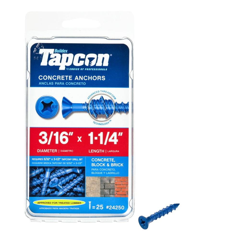 Tapcon 3/16 in. x 1-1/4 in. Phillips-Flat-Head Concrete Anchors (25-Pack)