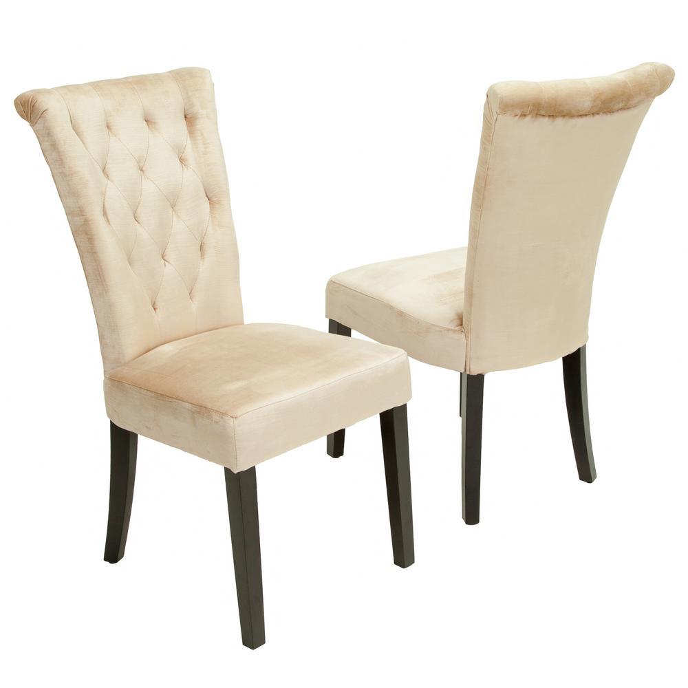 Venetian Champagne Velvet Tufted Dining Chairs (Set of 2)