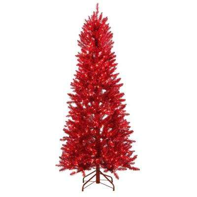6 ft. Pre-Lit Shiny Red Fraser with Warm White and Red Color-Changing LED Lights