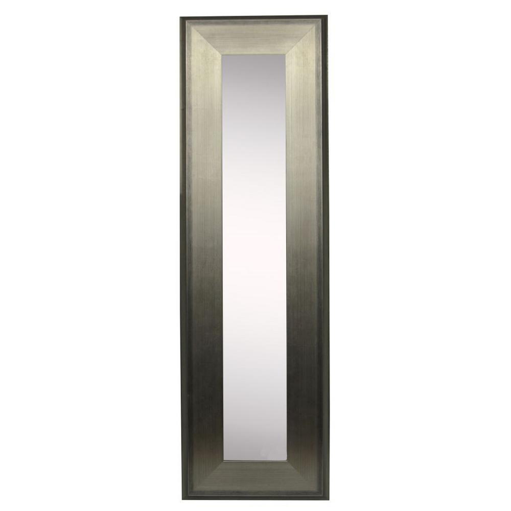 10.5 in. x 26.5 in. Brushed Silver Vanity Mirror Single Panel
