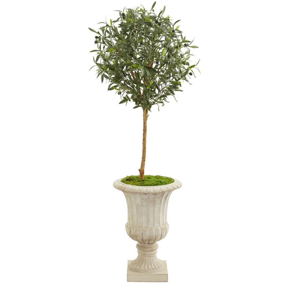 57 in. Indoor Olive Artificial Tree in Decorative Urn