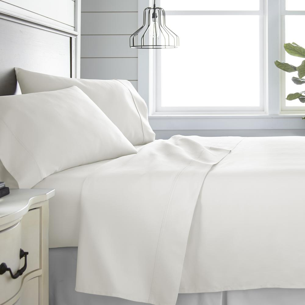 Becky Cameron 4 Piece Ivory 300 Thread Count Cotton King Bed Sheet