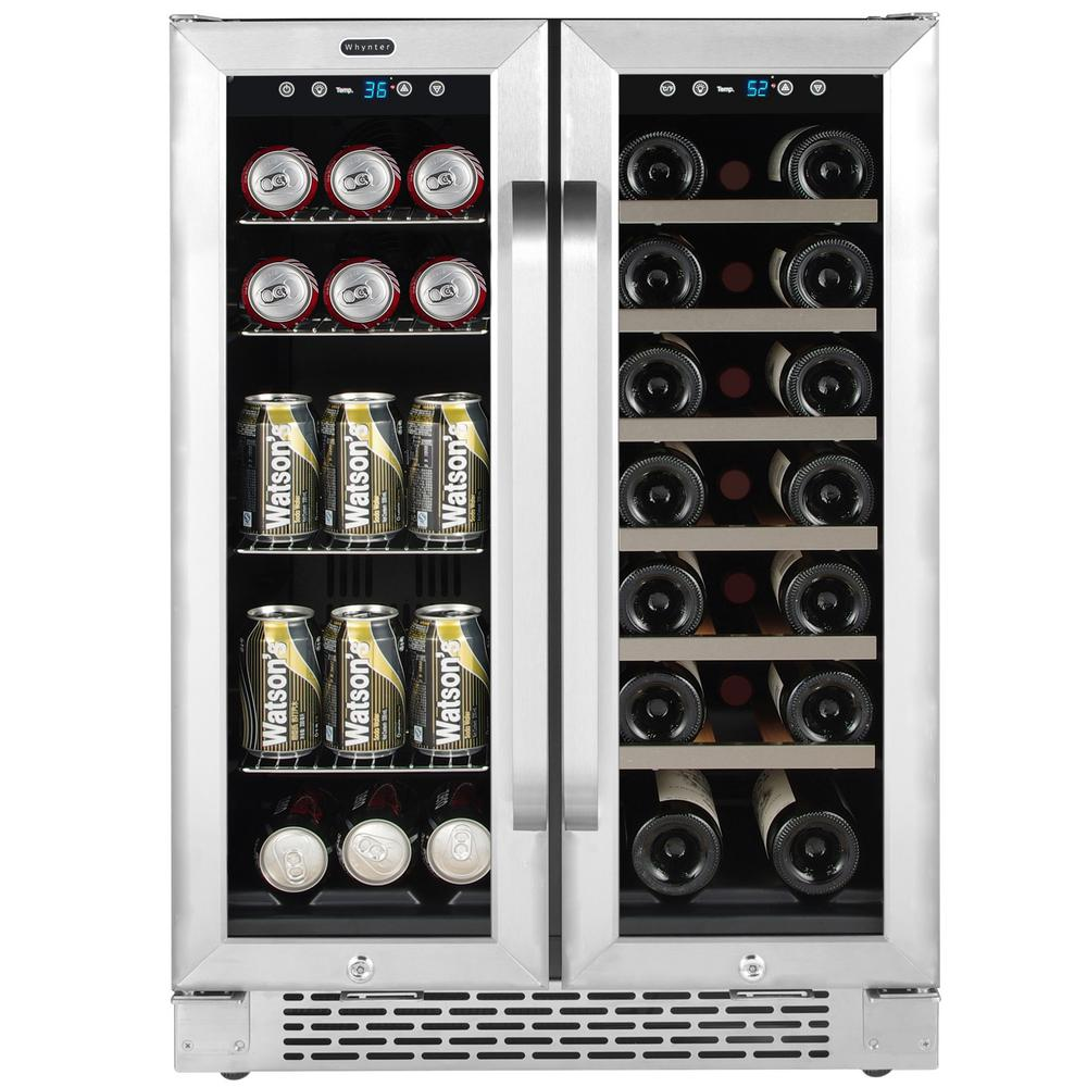 Whynter 24 in. Built-In French Door Dual Zone 20-Bottle Wine and 60-Can Beverage Cooler