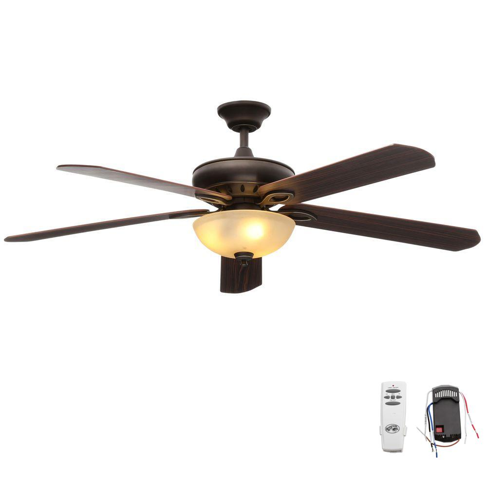 Indoor Oil Rubbed Bronze Ceiling Fan With Light Kit And Remote Control