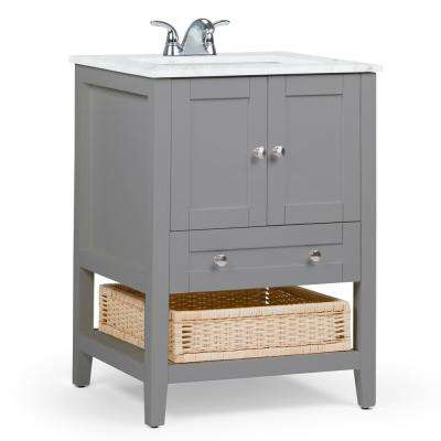 Cape Cod 24 in. Bath Vanity in Warm Grey with Engineered Marble Extra Thick Vanity Top in White with White Basin