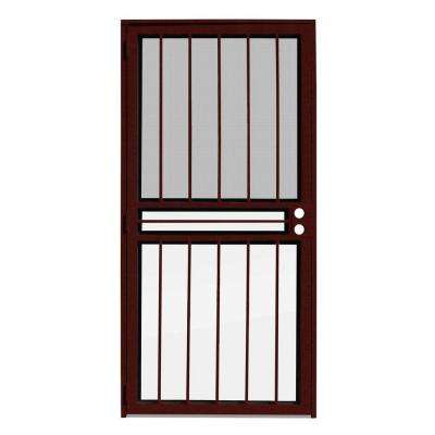 36 in. x 80 in. Paladin Wineberry Recessed Mount All Season Security Door with Insect Screen and Glass Inserts