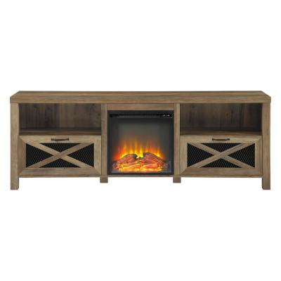 70 in. Reclaimed Barnwood Composite TV Stand Fits TVs Up to 78 in. with Electric Fireplace