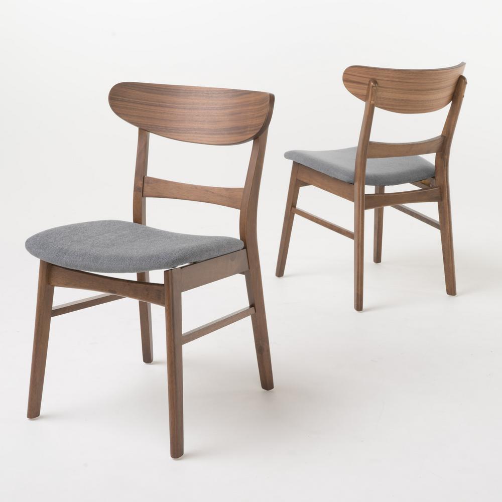 Idalia Dark Grey Wood Dining Chairs (Set of 2)