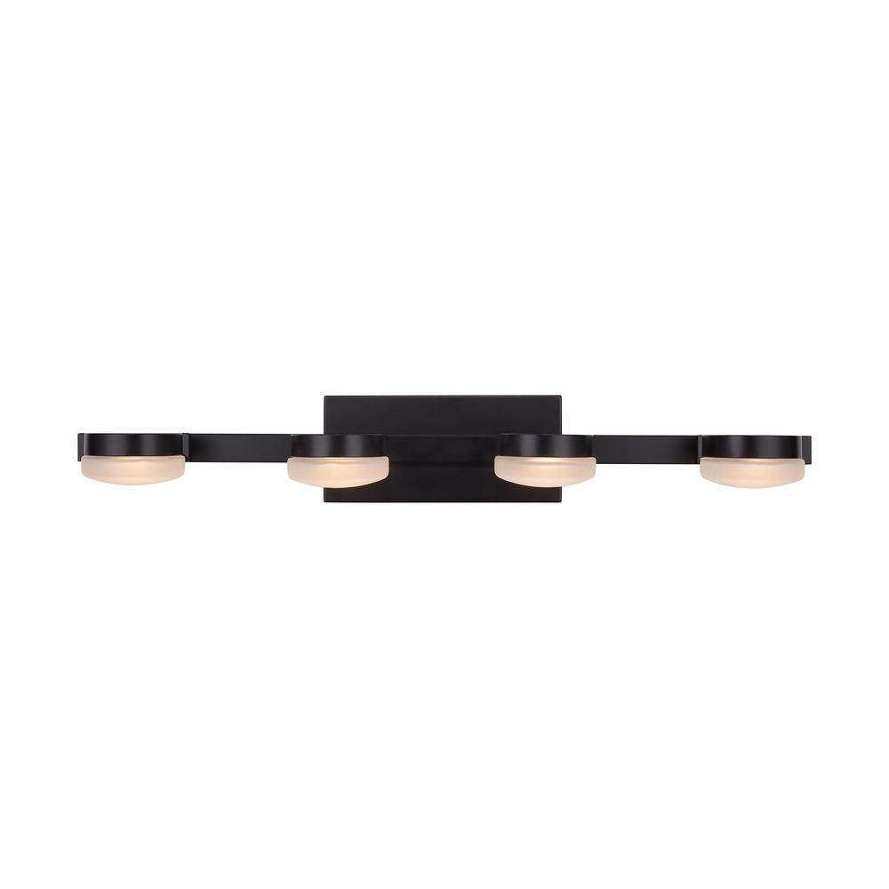 Home Decorators Collection 40-Watt Equivalent 4-Light Oil Rubbed Bronze Integrated LED Vanity Light with Etched Glass