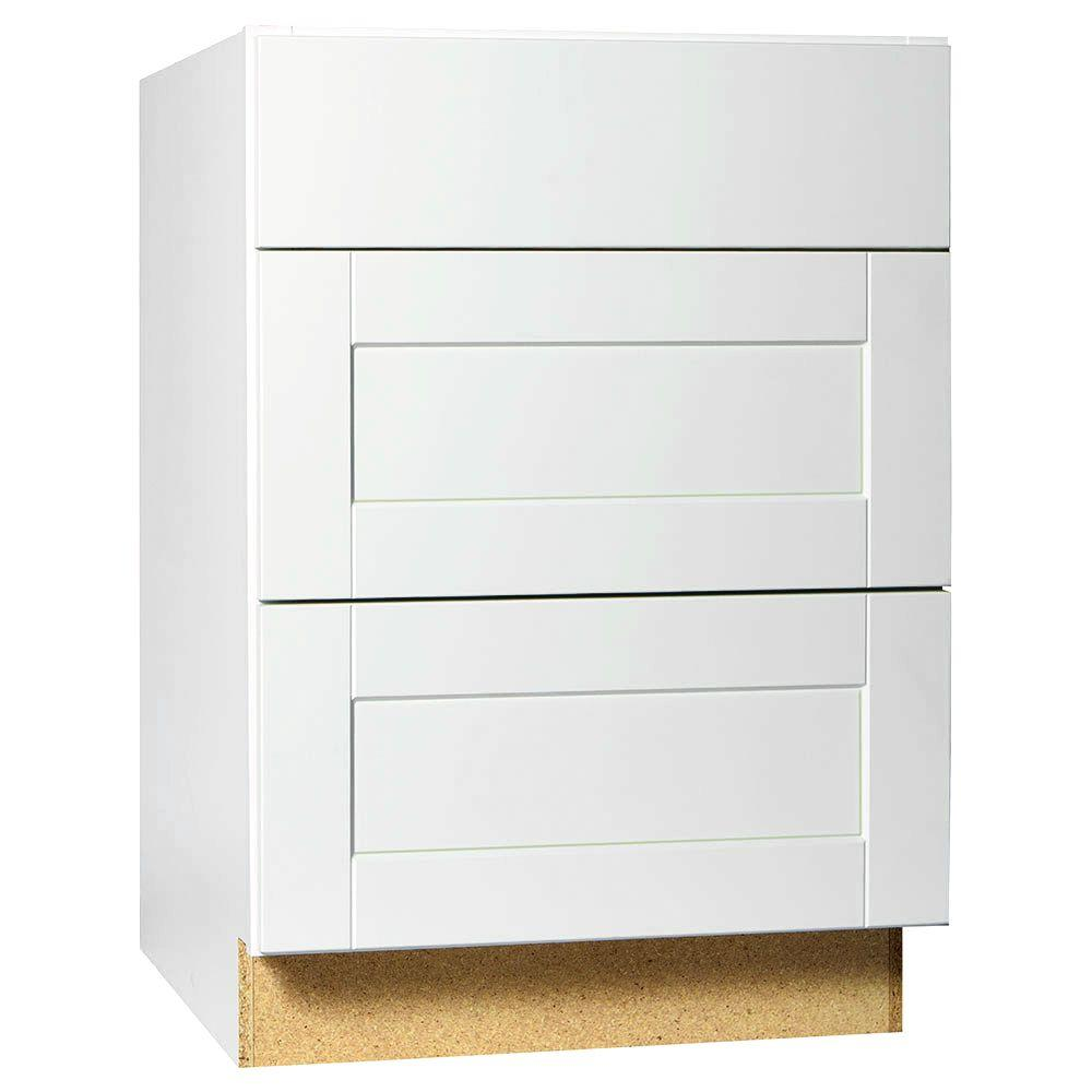 Hampton Bay Shaker Assembled In Drawer Base Kitchen Cabinet With Ball Bearing Drawer