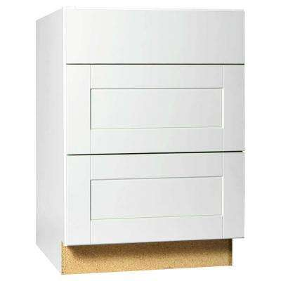 Shaker Assembled 24x34.5x24 in. Drawer Base Kitchen Cabinet with Ball-Bearing Drawer Glides in Satin White