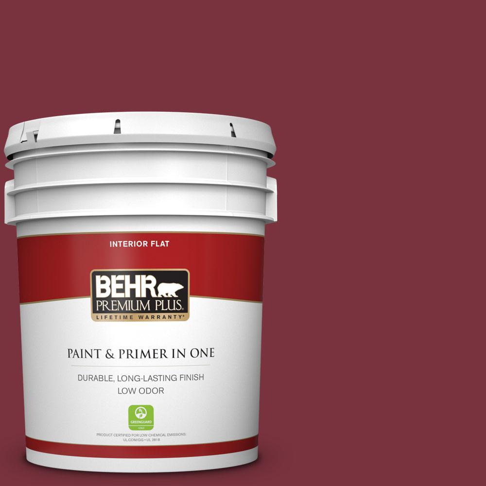 Behr Premium Plus 5 Gal S H 140 Cinnamon Cherry Flat Low Odor Interior Paint And Primer In One