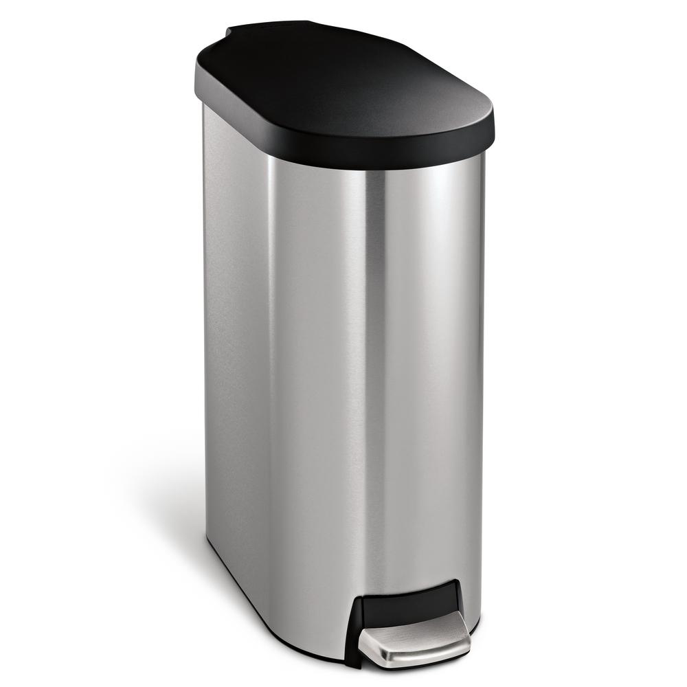 Simplehuman 45 Liter Fingerprint Proof Brushed Stainless Steel Slim Step On Trash Can