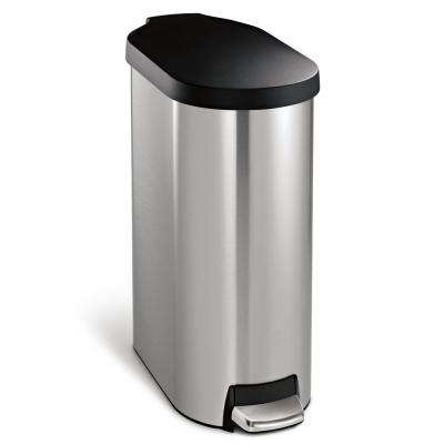 45-Liter Fingerprint-Proof Brushed Stainless Steel Slim Step-On Trash Can with Black Plastic Lid