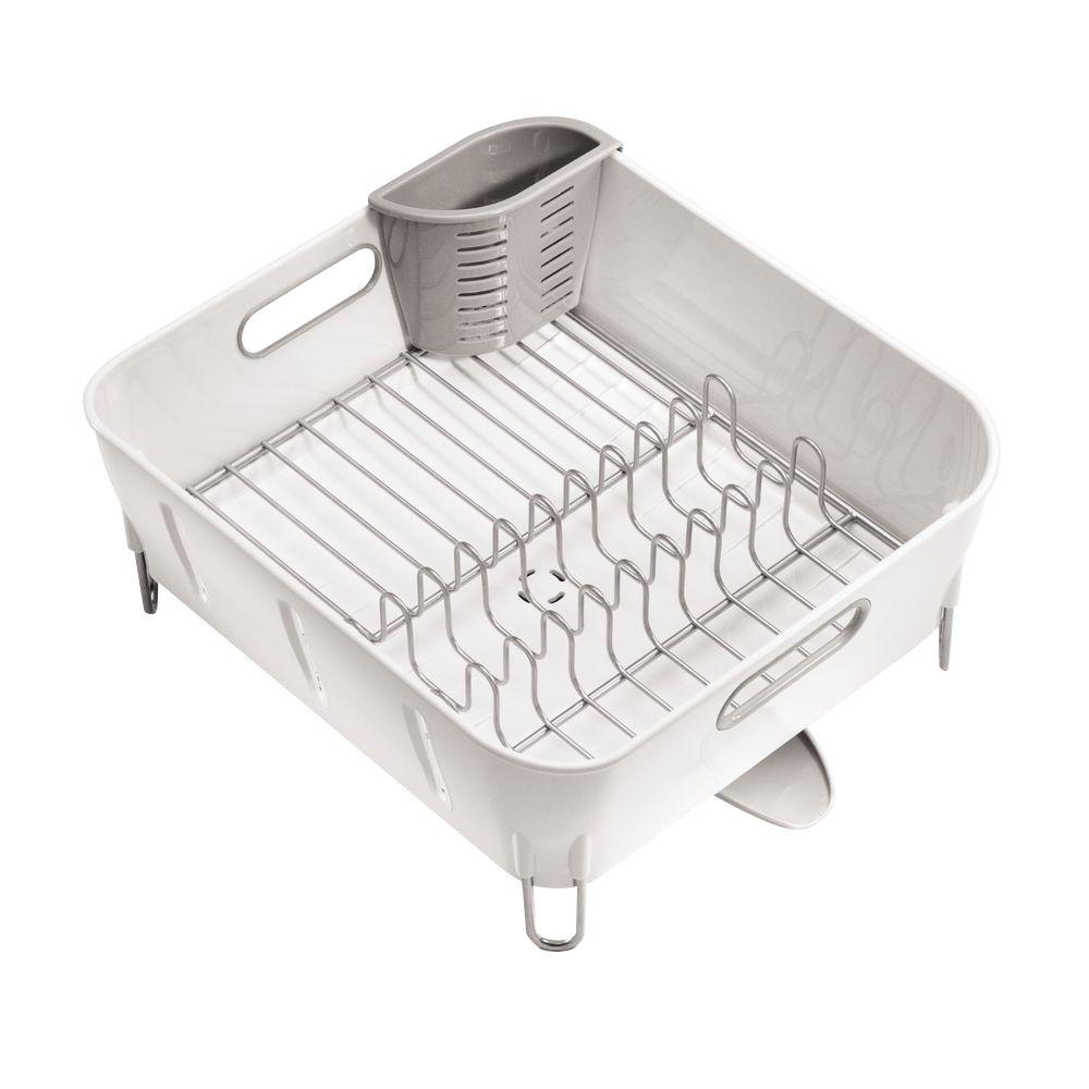 Simplehuman Compact Dish Rack In White Plastic Kt1104