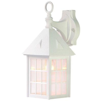 Outer Banks Collection 1-Light Textured White Outdoor Wall Lantern Sconce
