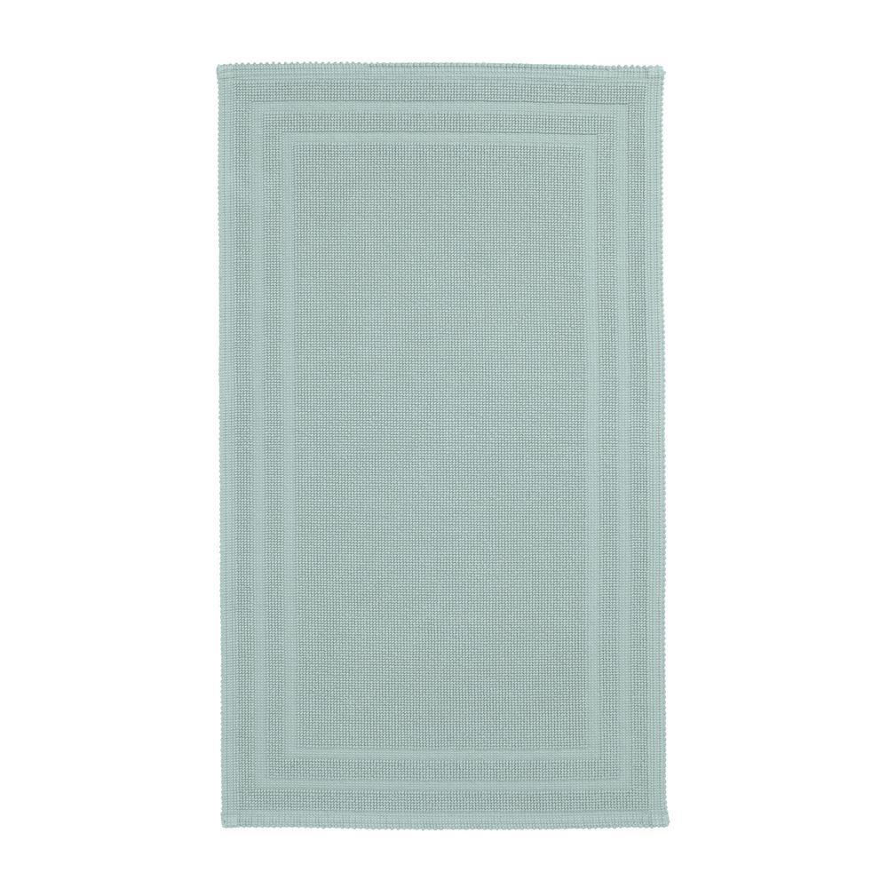 Legends Sterling Aqua Haze 24 in. x 40 in. Cotton Reversible Bath Mat