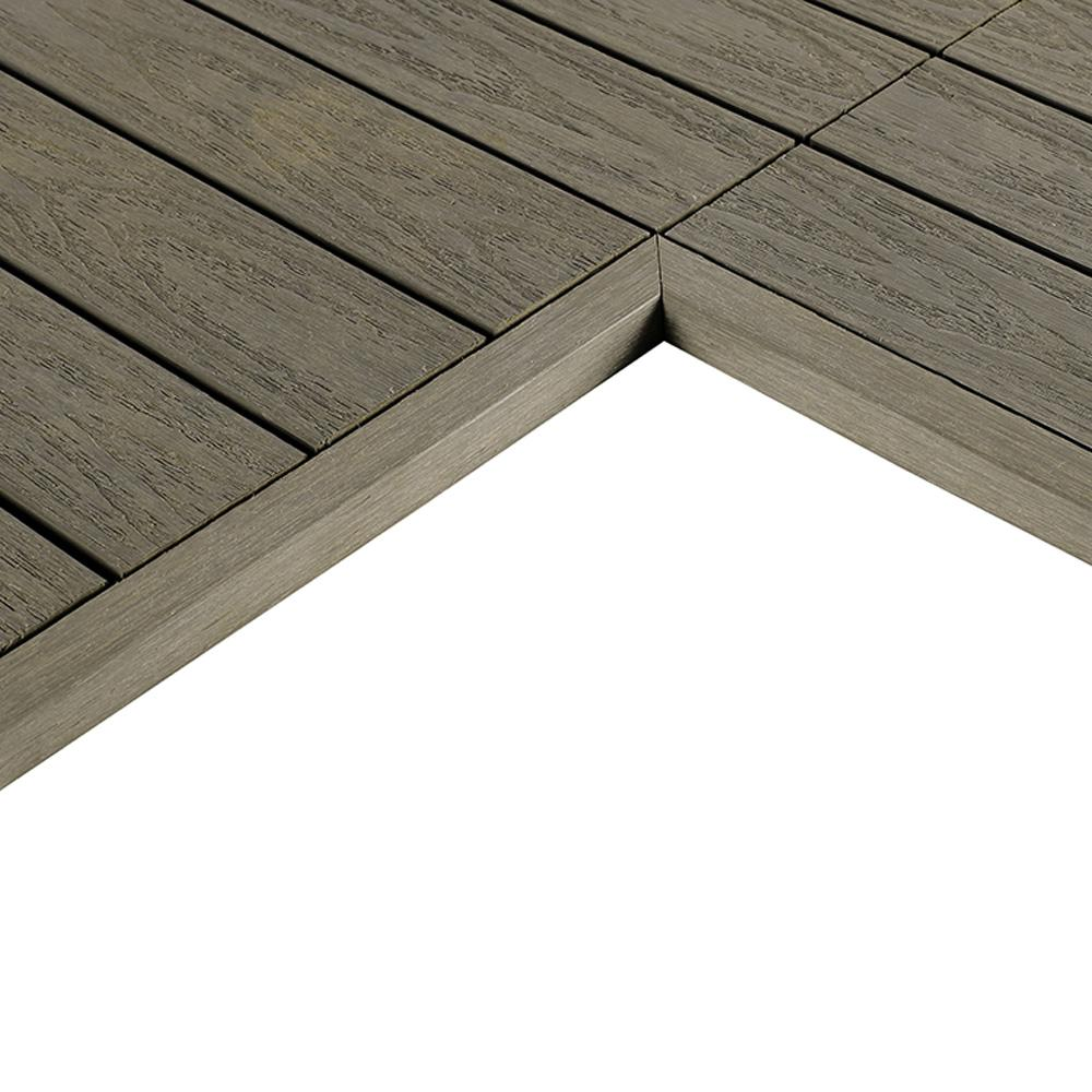 1 12 Ft X Quick Deck Composite Tile Inside Corner Fascia In Egyptian Stone Gray 2 Pieces Box