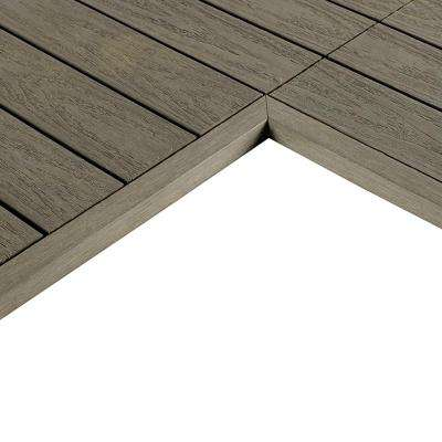 1/6 ft. x 1 ft. Quick Deck Composite Deck Tile Inside End Corner Fascia in Egyptian Stone Gray (2-Pieces/box)