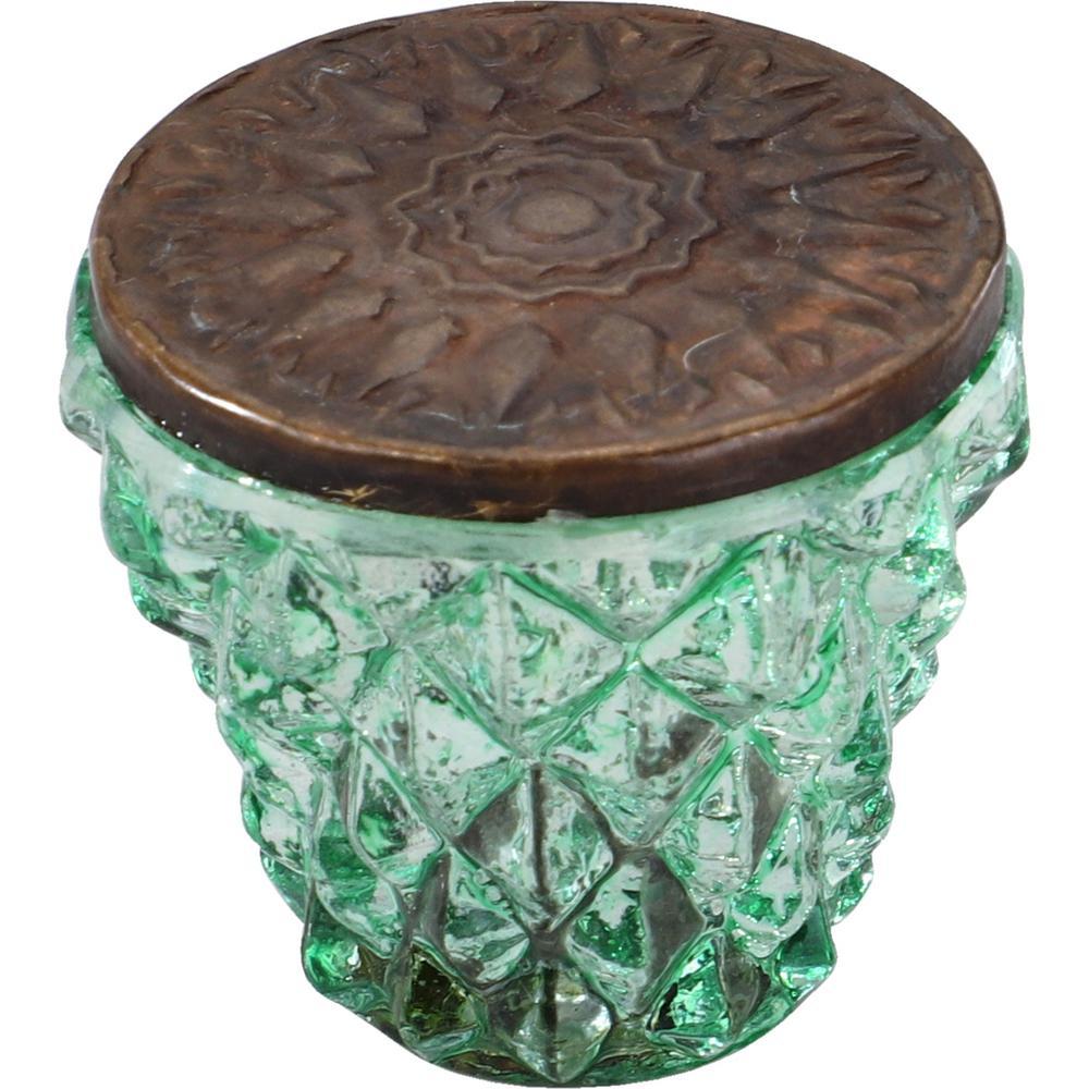 Diamond Cut 1-1/2 in. Parrot Green Bronze Head Cabinet Knob