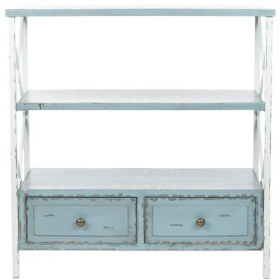 Chandra Pale Blue and White Smoke Storage Console Table