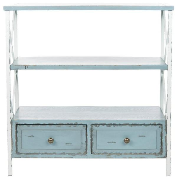 Safavieh Chandra Pale Blue and White Smoke Storage Console Table AMH6551A
