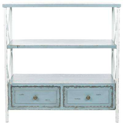 Chandra Slate Green and White Smoke Storage Console Table