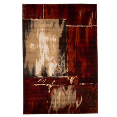 Opus Artfully Abstract Red 5 ft. x 8 ft. Area Rug