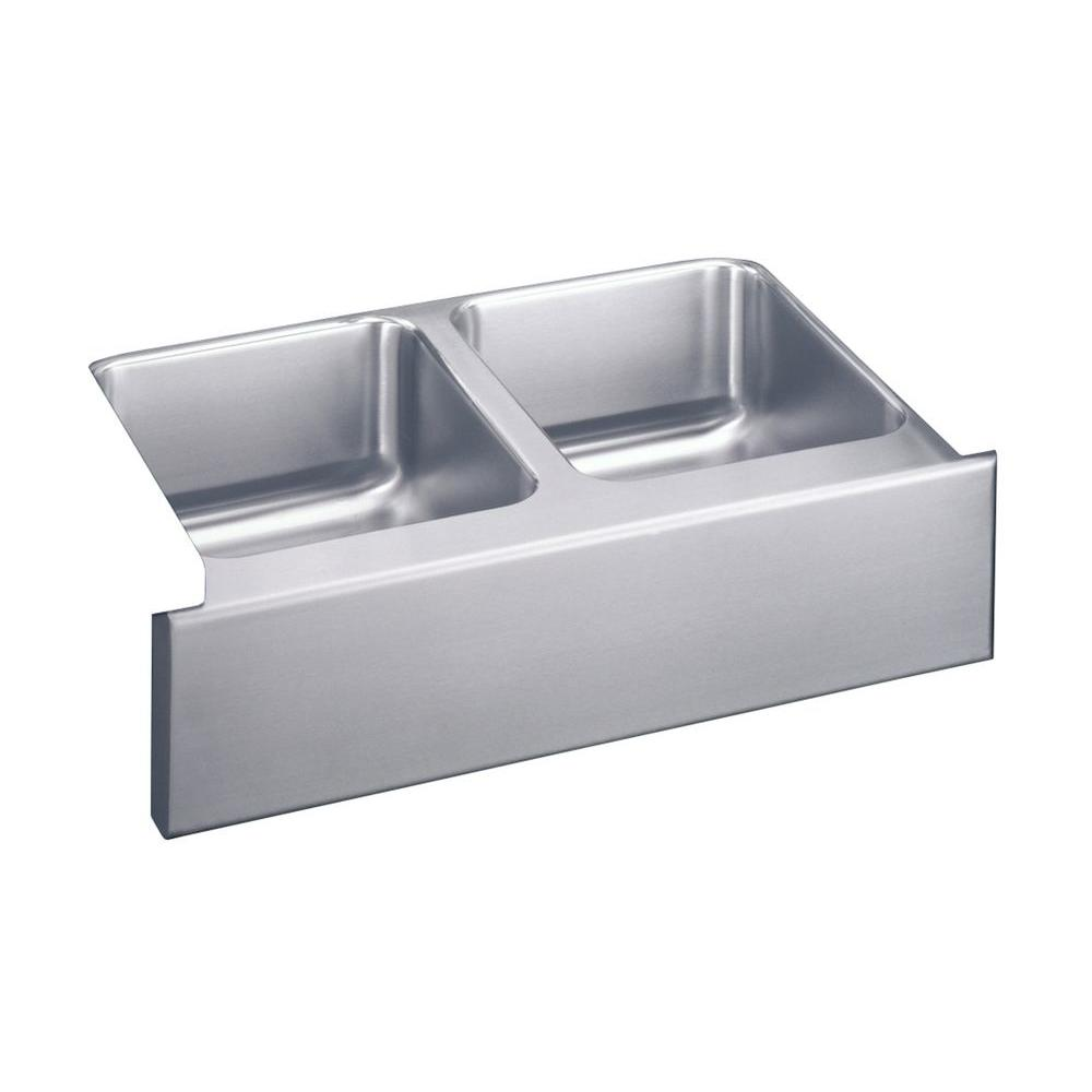Elkay Lustertone Farmhouse Apron Front Stainless Steel 33 In. Double Bowl  Kitchen Sink ELUHF3320   The Home Depot