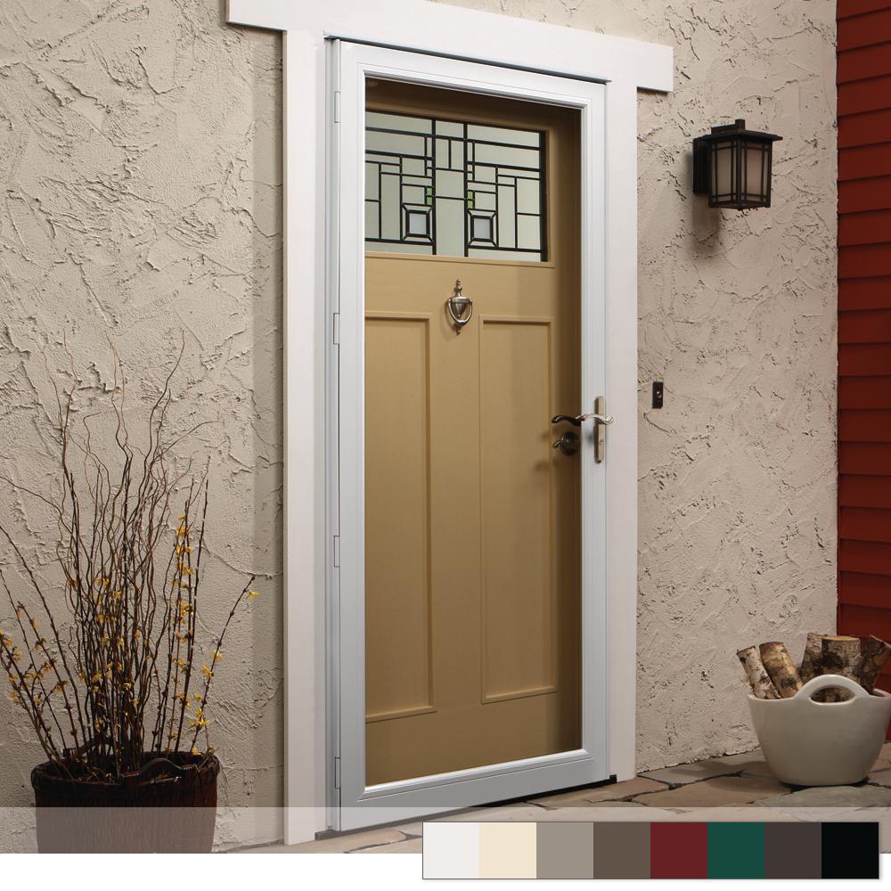 Andersen 36 in  x 80 in  4000 Series White Left-Hand Fullview Dual Pane  Insulating Glass Aluminum Storm Door