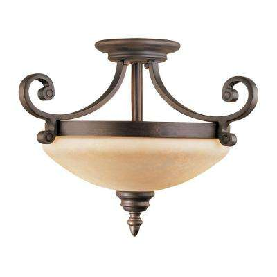 2-Light Rubbed Bronze Semi-Flush Mount Light with Turinian Scavo Glass