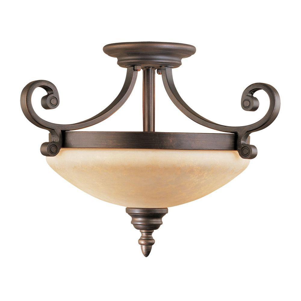 2-Light Rubbed Bronze Semi-Flush Mount Light with Turinian Scavo Glass