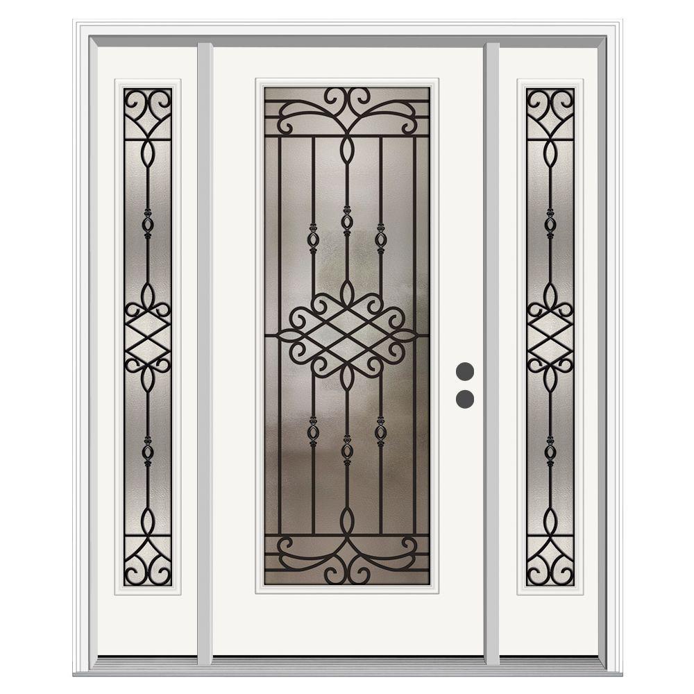 66 in. x 80 in. Full Lite Sanibel Primed Steel Prehung Left-Hand Inswing Front Door with Sidelites