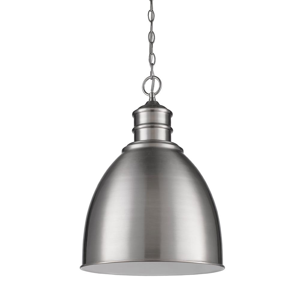 Colby 1-Light Indoor Satin Nickel Pendant with Metal Shade